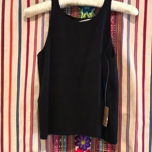 Rachel Roy black knit top L sexy open back